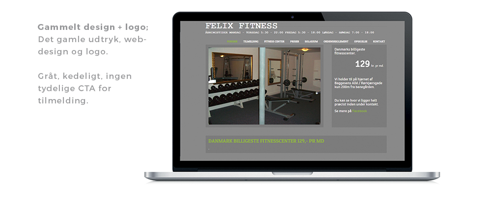 Redesign af Felix Fitness - old web