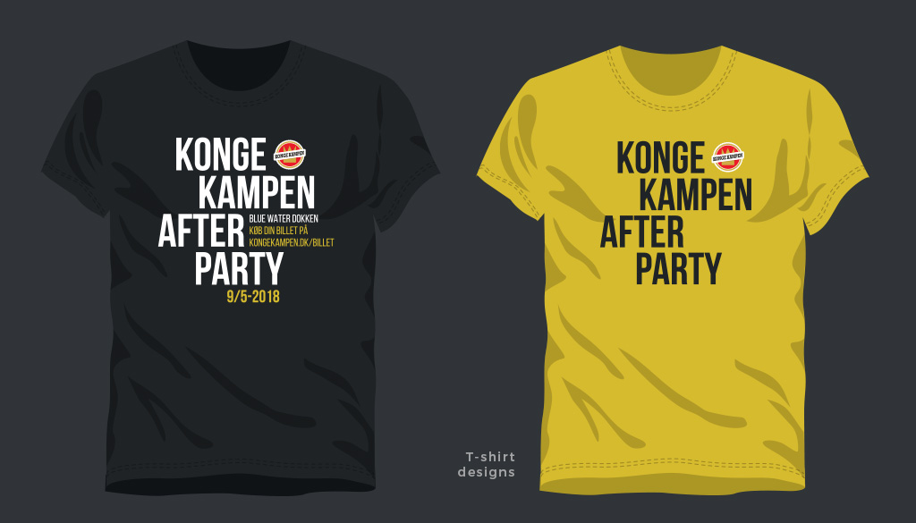 Kongekampen Afterparty - design af t-shirts